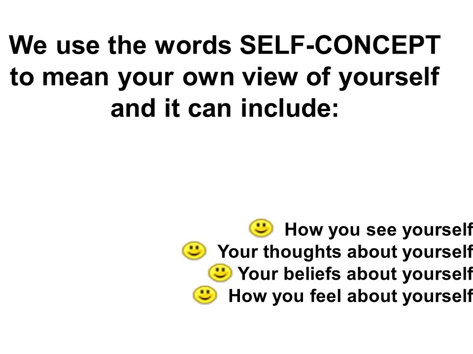 We use the words SELF-CONCEPT to mean your own view of yourself and it can include:
