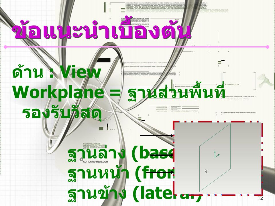 ข้อแนะนำเบื้องต้น ด้าน : View Workplane = ฐานส่วนพื้นที่รองรับวัสดุ