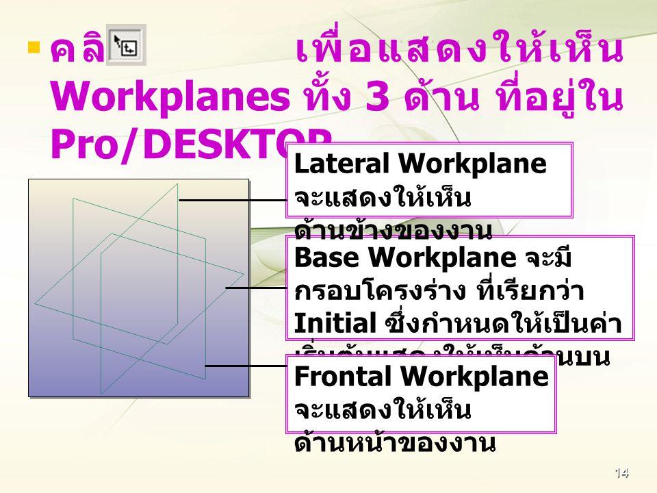 คลิก เพื่อแสดงให้เห็น Workplanes ทั้ง 3 ด้าน ที่อยู่ใน Pro/DESKTOP
