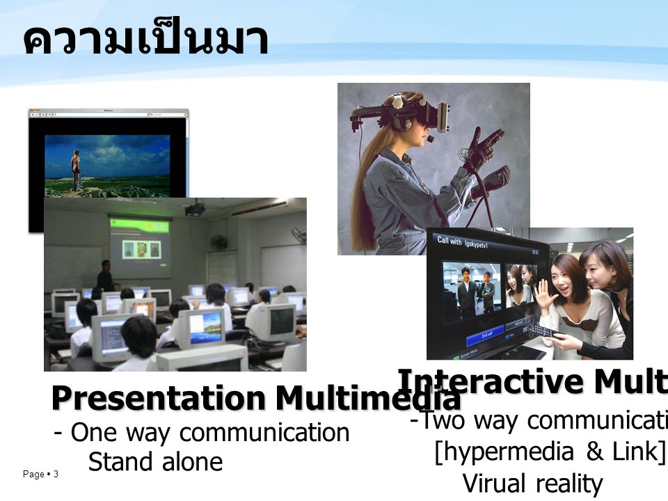 ความเป็นมา Interactive Multimedia Presentation Multimedia
