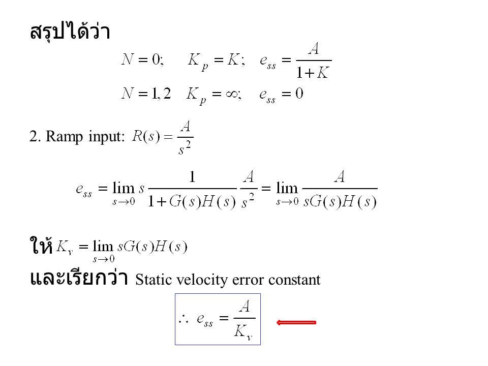 และเรียกว่า Static velocity error constant