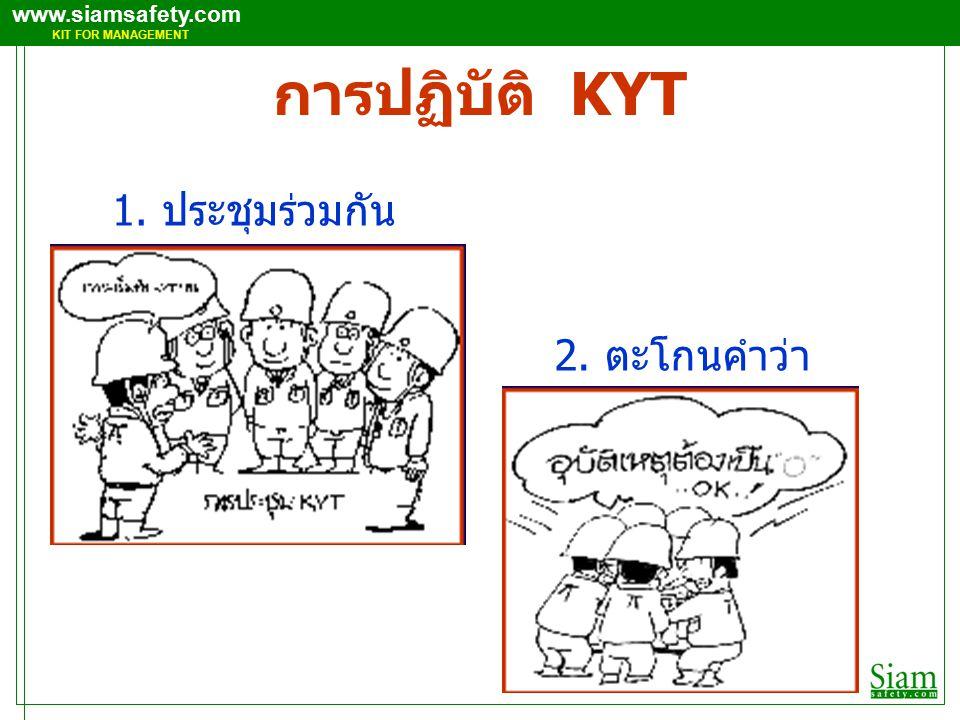 การปฏิบัติ KYT 1. ประชุมร่วมกัน 2. ตะโกนคำว่า