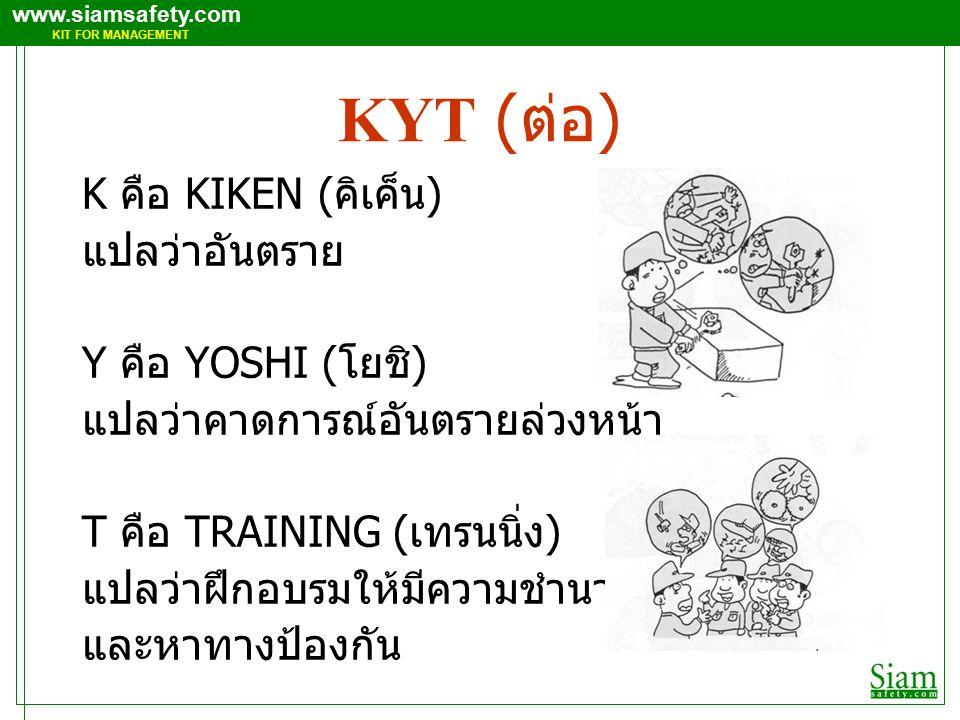 KYT (ต่อ) K คือ KIKEN (คิเค็น) แปลว่าอันตราย Y คือ YOSHI (โยชิ)