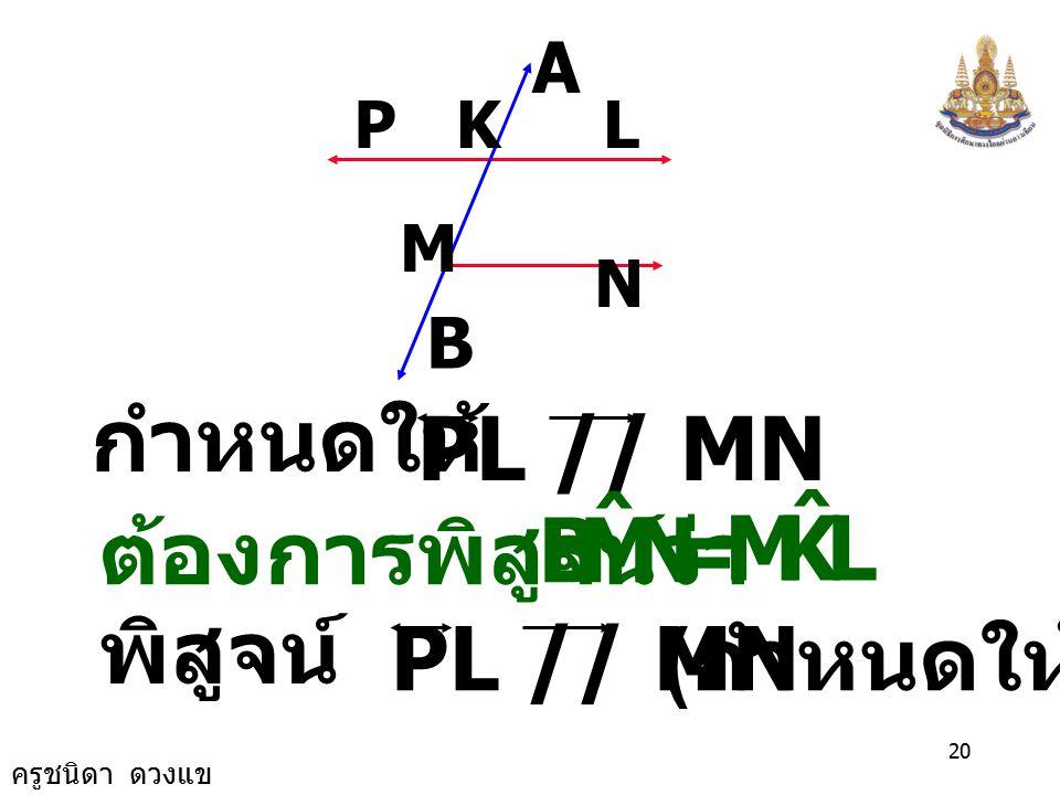 N M B ˆ L K กำหนดให้ PL // MN = ต้องการพิสูจน์ว่า พิสูจน์ PL // MN