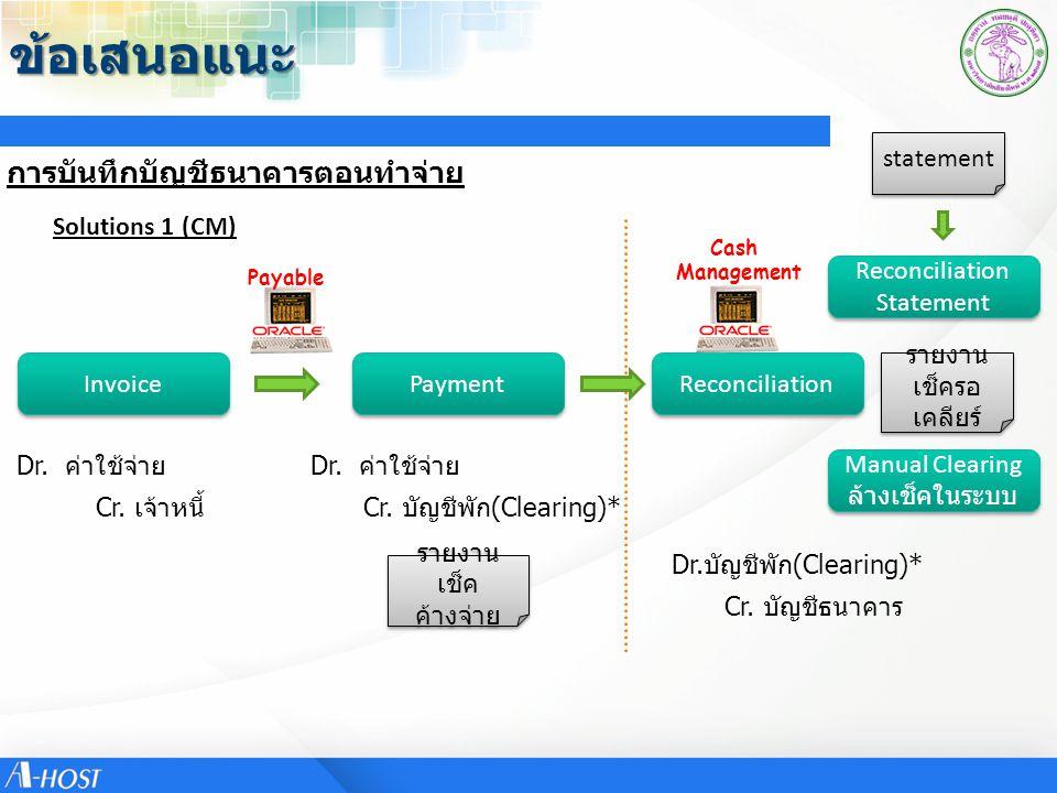 ข้อเสนอแนะ การบันทึกบัญชีธนาคารตอนทำจ่าย statement Solutions 1 (CM)