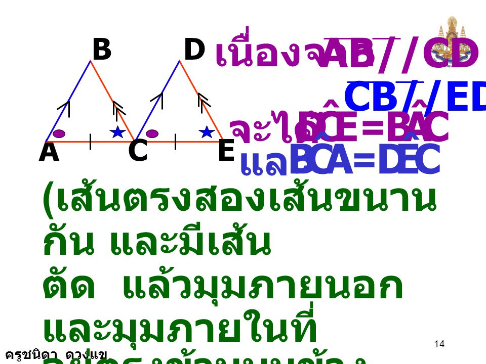 E C D ˆ A B A C B ˆ E D AB//CD เนื่องจาก CB//ED จะได้ = และ =