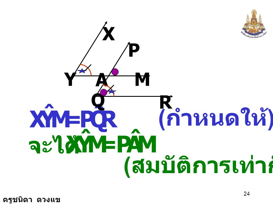 M Y X ˆ R Q P M Y X ˆ A P (กำหนดให้) = จะได้ = (สมบัติการเท่ากัน) X P