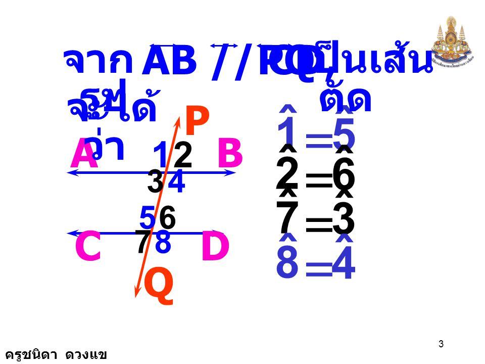 = = = = ˆ 1 5 ˆ 2 6 ˆ 7 3 ˆ 8 4 AB // CD, PQ จากรูป เป็นเส้นตัด