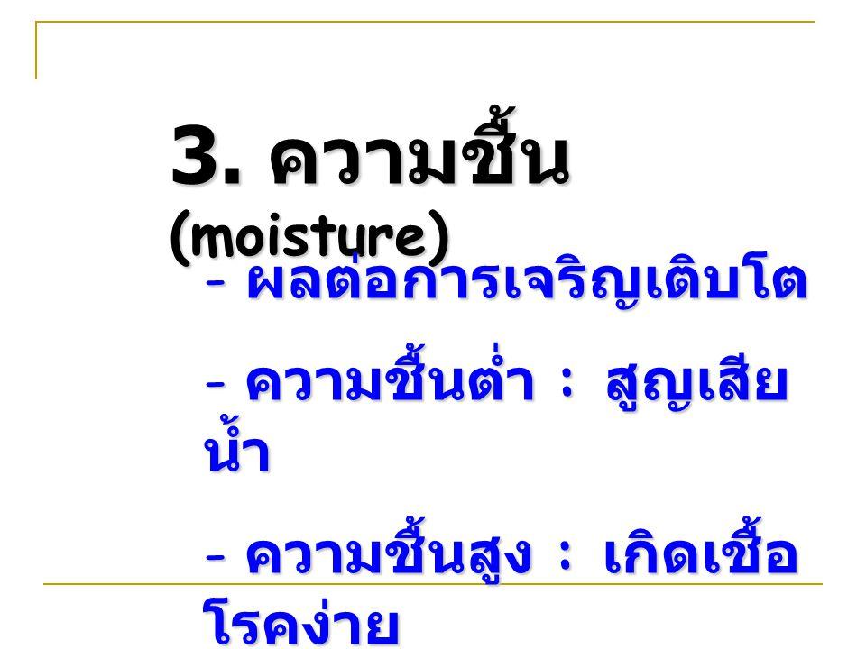 3. ความชื้น (moisture) ผลต่อการเจริญเติบโต ความชื้นต่ำ : สูญเสียน้ำ