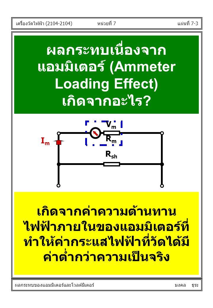 ผลกระทบเนื่องจากแอมมิเตอร์ (Ammeter Loading Effect)