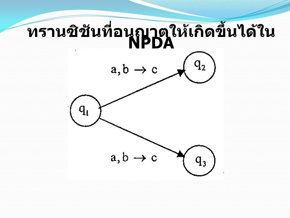 ทรานซิชันที่อนุญาตให้เกิดขึ้นได้ใน NPDA