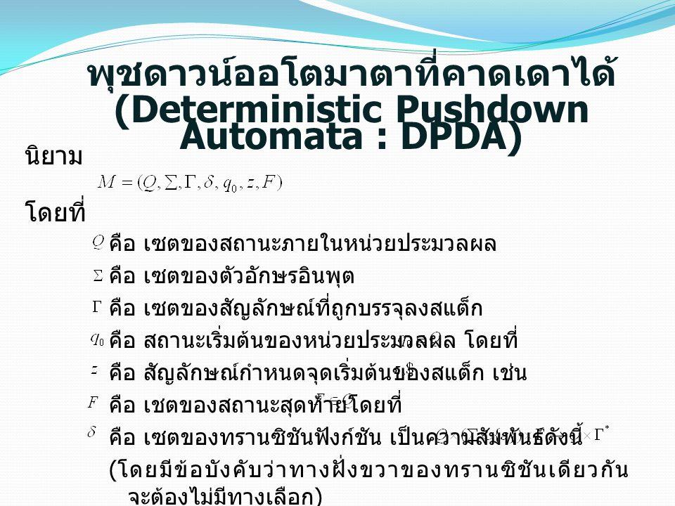 พุชดาวน์ออโตมาตาที่คาดเดาได้ (Deterministic Pushdown Automata : DPDA)