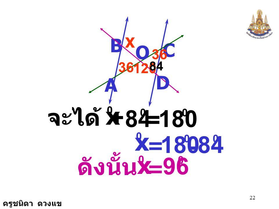 180 x 84 x 180 84 x 96 จะได้ + = - ดังนั้น = = B C O D A X 36 36 120