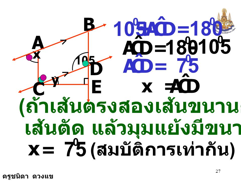 + - 105 180 180 105 75 75 (ถ้าเส้นตรงสองเส้นขนานกันและมี