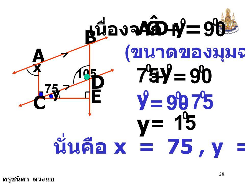 = y y 90 y 75 90 y 75 90 15 นั่นคือ x = 75 , y = 15 D C A ˆ +
