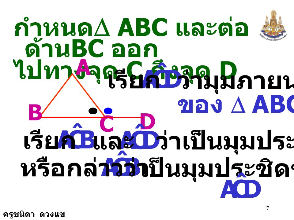 D C A ˆ D C A ˆ B B C A ˆ D กำหนดD ABC และต่อด้านBC ออก