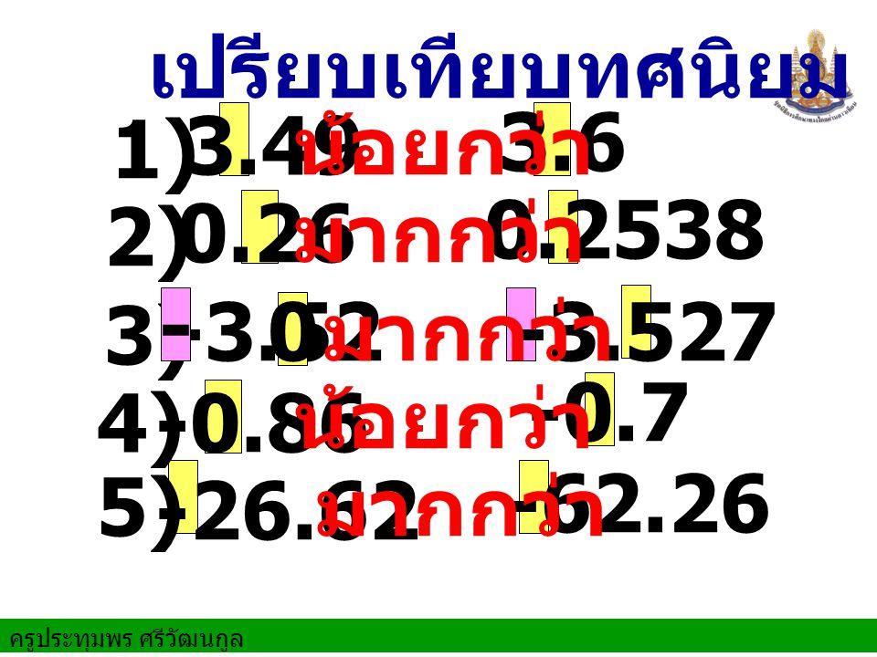 เปรียบเทียบทศนิยม น้อยกว่า. 3.6. 3.49. 1) 0.2538. 0.26. มากกว่า. 2) -3.52. - มากกว่า. -3.527.