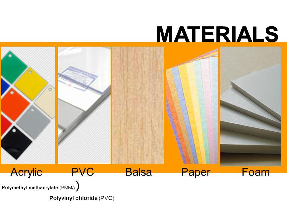 MATERIALS Acrylic PVC Balsa Paper Foam Polyvinyl chloride (PVC)