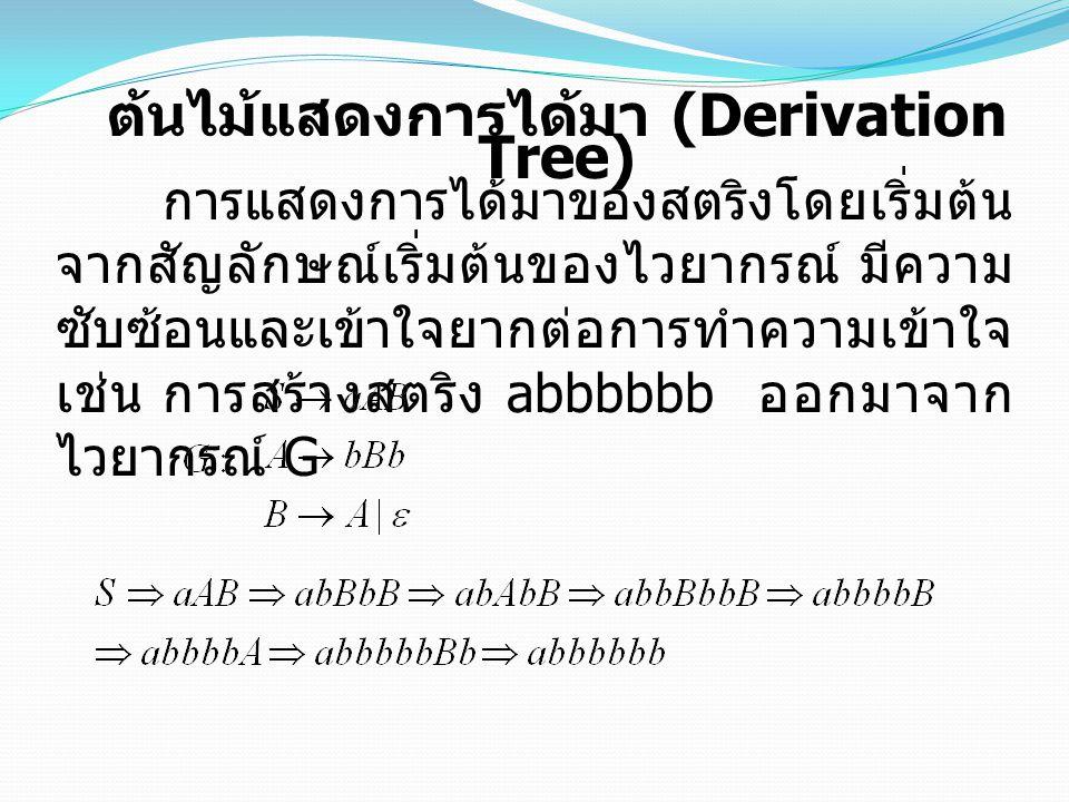 ต้นไม้แสดงการได้มา (Derivation Tree)