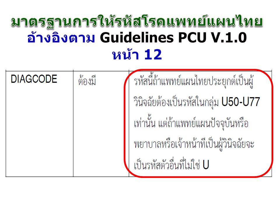 มาตรฐานการให้รหัสโรคแพทย์แผนไทย อ้างอิงตาม Guidelines PCU V.1.0