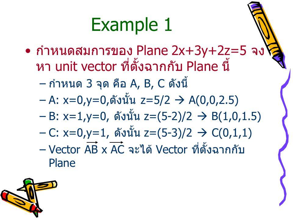 Example 1 กำหนดสมการของ Plane 2x+3y+2z=5 จงหา unit vector ที่ตั้งฉากกับ Plane นี้ กำหนด 3 จุด คือ A, B, C ดังนี้