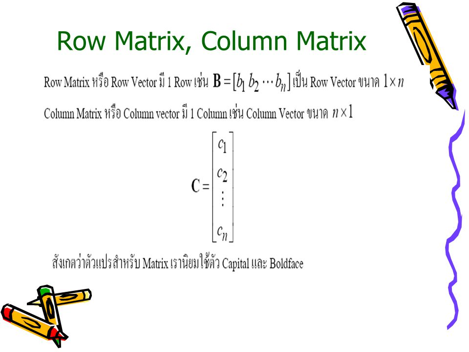 Row Matrix, Column Matrix
