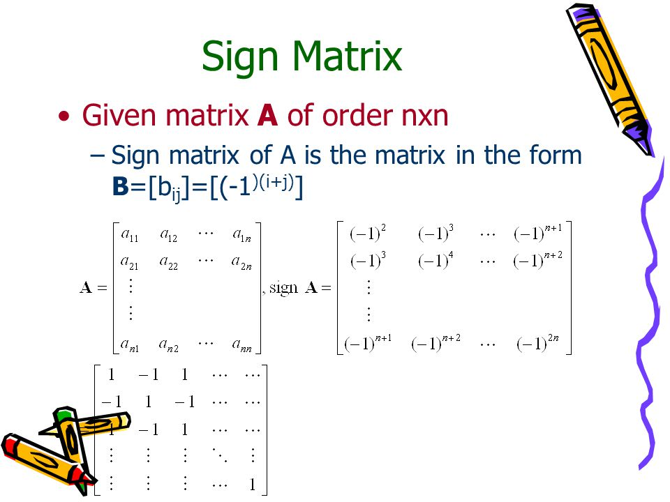 Sign Matrix Given matrix A of order nxn