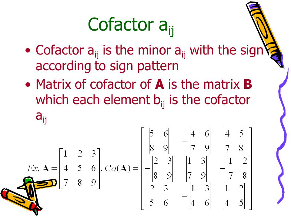 Cofactor aij Cofactor aij is the minor aij with the sign according to sign pattern.