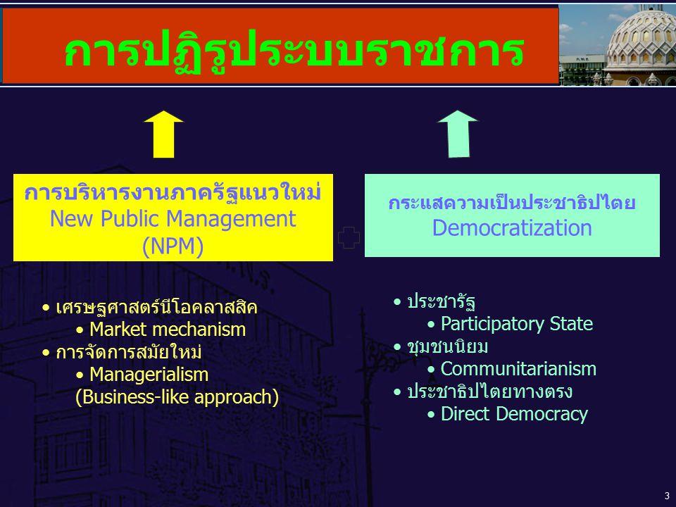 การปฏิรูประบบราชการ การบริหารงานภาครัฐแนวใหม่ New Public Management (NPM) กระแสความเป็นประชาธิปไตยDemocratization.