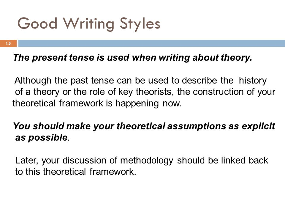 Good Writing Styles The present tense is used when writing about theory. Although the past tense can be used to describe the history.