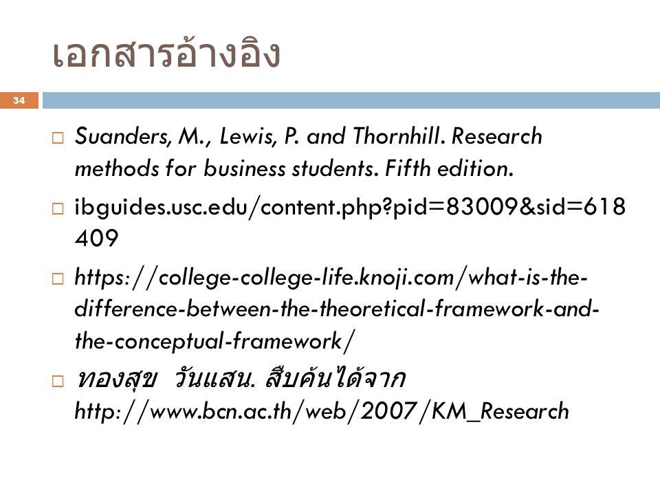 เอกสารอ้างอิง Suanders, M., Lewis, P. and Thornhill. Research methods for business students. Fifth edition.
