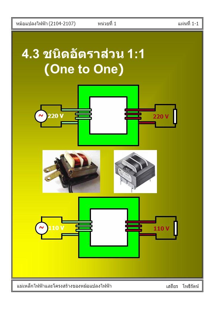 4.3 ชนิดอัตราส่วน 1:1 (One to One) ~ ~ 220 V 110 V
