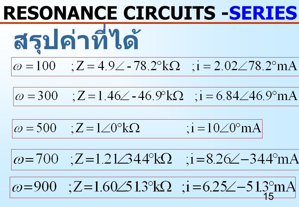 RESONANCE CIRCUITS -SERIES RESONANCE