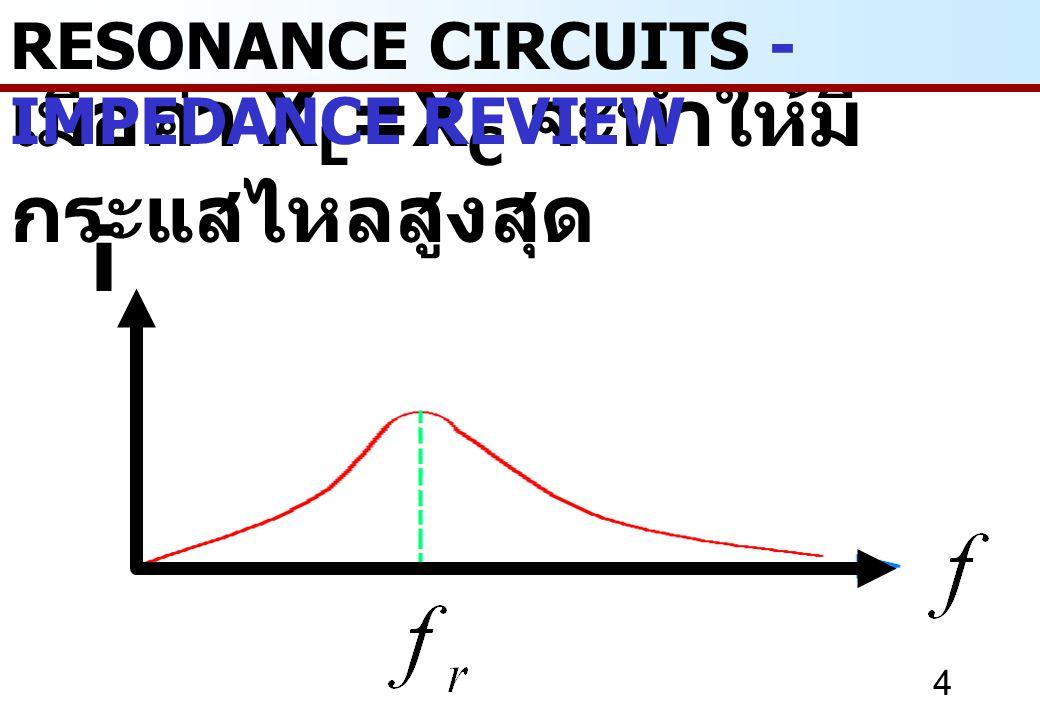 เมื่อค่า XL=XC จะทำให้มีกระแสไหลสูงสุด
