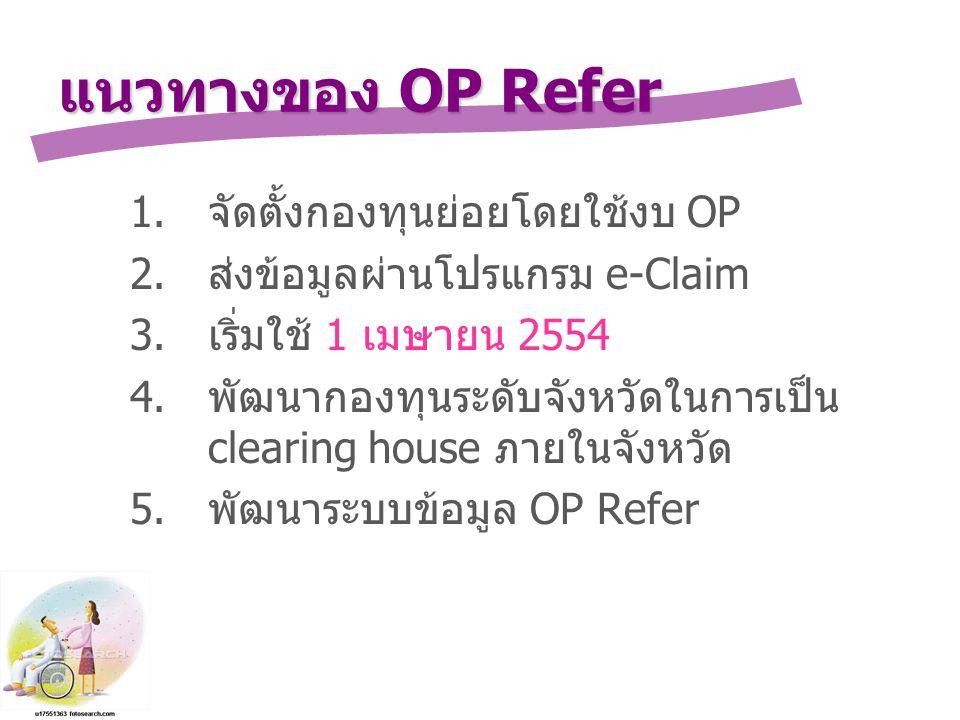 แนวทางของ OP Refer จัดตั้งกองทุนย่อยโดยใช้งบ OP