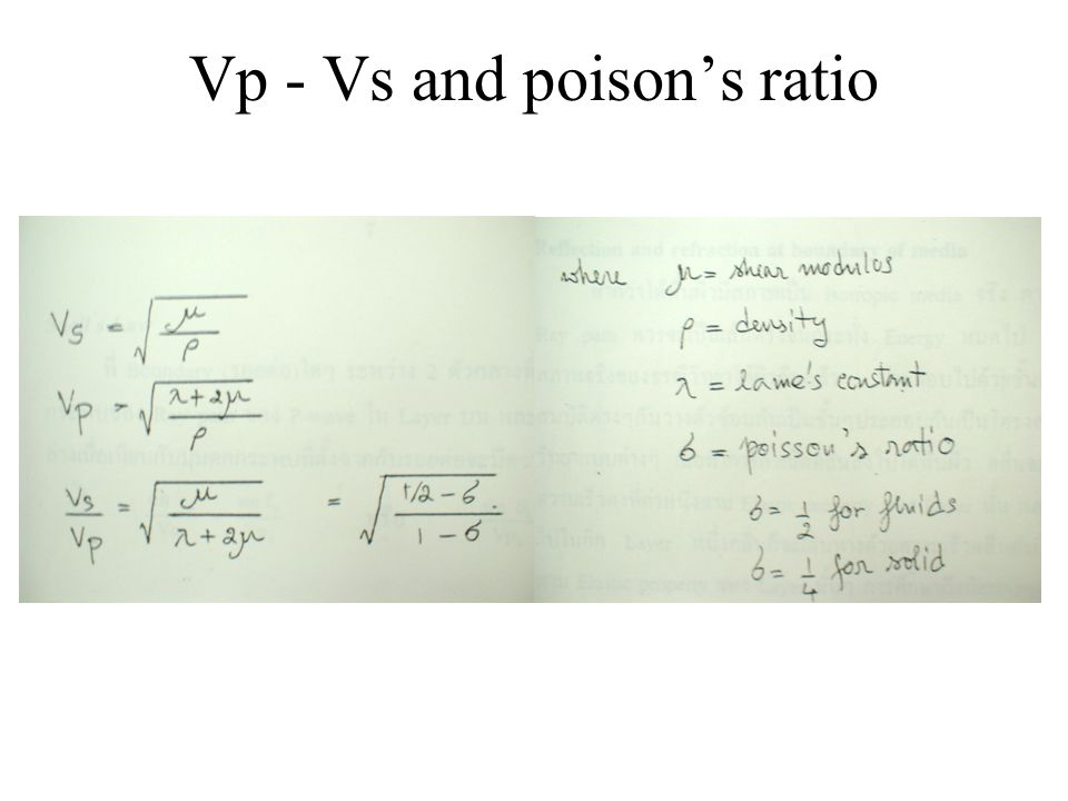 Vp - Vs and poison's ratio