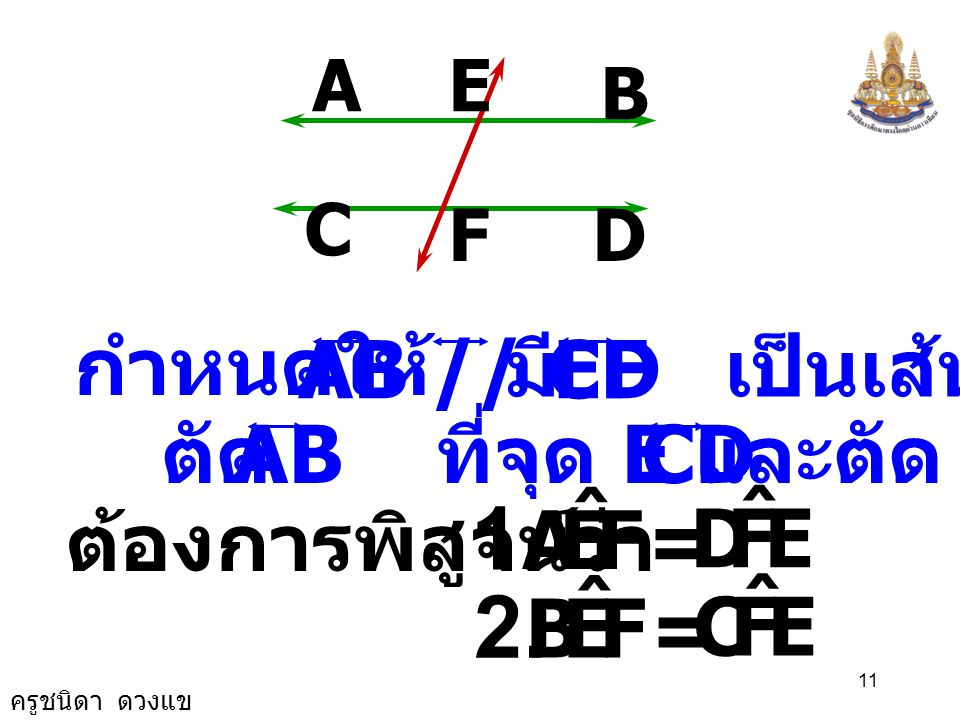 1. = 2. = F E A ˆ D F E B ˆ C กำหนดให้ AB // CD มี เป็นเส้นตัด EF AB