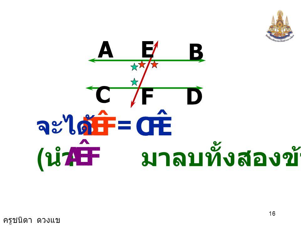 A B D C E F F E B ˆ = C จะได้ (นำ มาลบทั้งสองข้าง) F E A ˆ