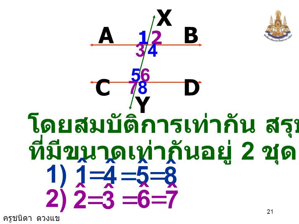 = = 1 ˆ 4 5 8 2 ˆ 3 6 7 โดยสมบัติการเท่ากัน สรุปได้ว่ามีมุม