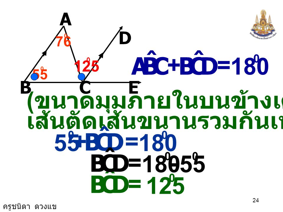 A B. C. E. D. 55. 76. C. B. A. ˆ. D. + = 180. 125. (ขนาดมุมภายในบนข้างเดียวกันของ. เส้นตัดเส้นขนานรวมกันเท่ากับ180 )