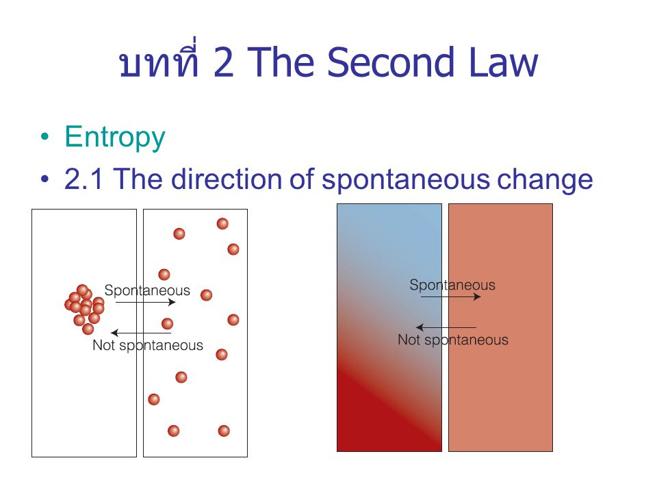 บทที่ 2 The Second Law Entropy 2.1 The direction of spontaneous change