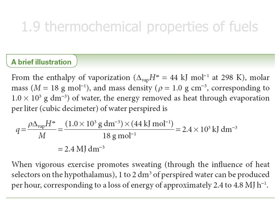 1.9 thermochemical properties of fuels