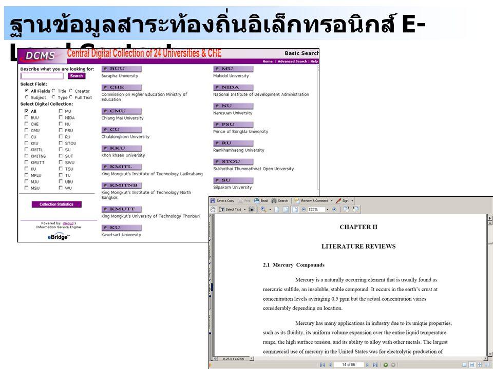 ฐานข้อมูลสาระท้องถิ่นอิเล็กทรอนิกส์ E-Local Content