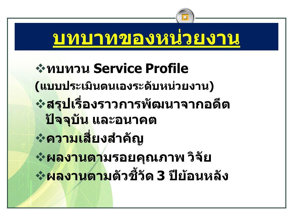 บทบาทของหน่วยงาน ทบทวน Service Profile