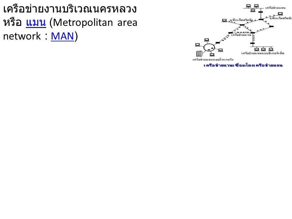 เครือข่ายงานบริเวณนครหลวง หรือ แมน (Metropolitan area network : MAN)