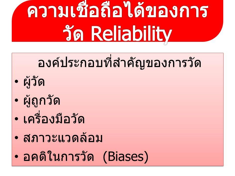 ความเชื่อถือได้ของการวัด Reliability