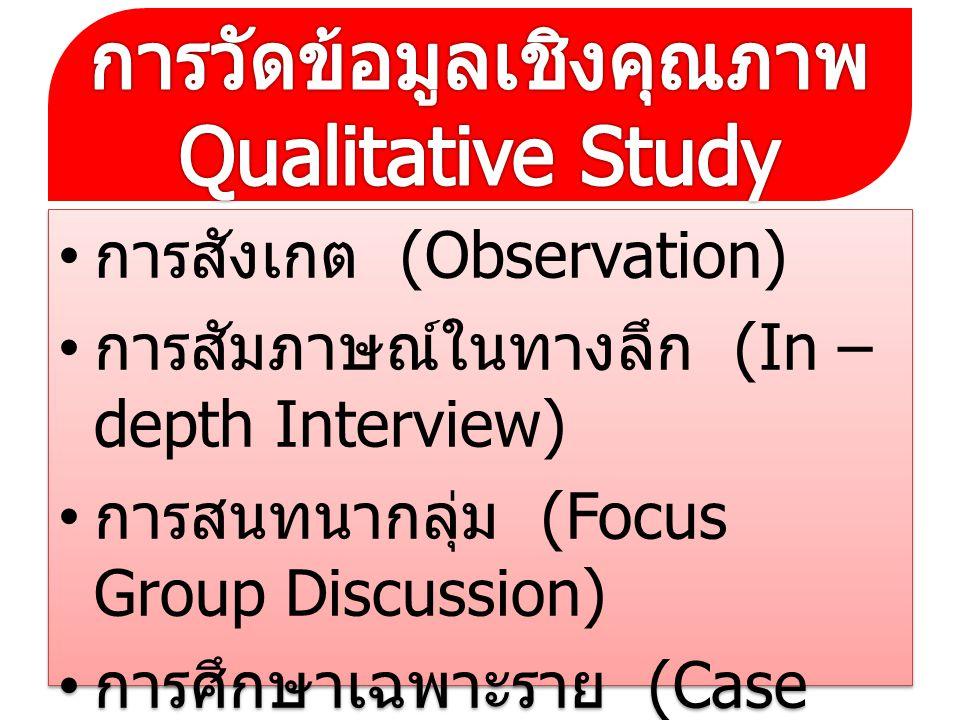 การวัดข้อมูลเชิงคุณภาพ Qualitative Study