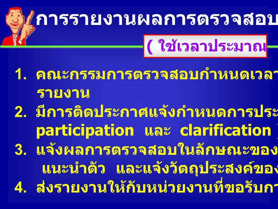 การรายงานผลการตรวจสอบ (Oral feedback)
