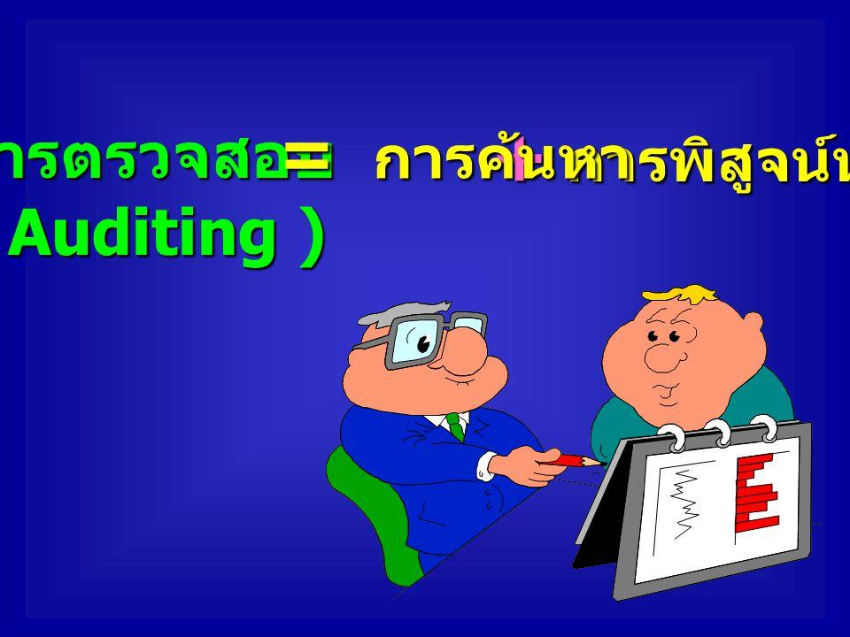 = การค้นหา + การพิสูจน์หลักฐาน การตรวจสอบ ( Auditing )