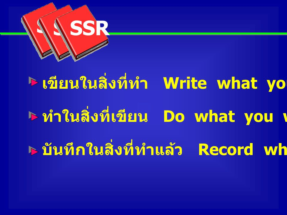 SSR เขียนในสิ่งที่ทำ Write what you do